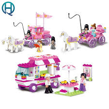 sluban girl friends snack car delivery dining travel model building blocks figure toys for children compatible legoe