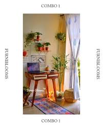 Furniblooms - Modern WFH combo crafted from <b>Solid Sheesham</b>...