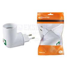 Переходник <b>вилка</b>-<b>Е27 с</b> выключателем, белый, SQ0335-1007 <b>TDM</b>