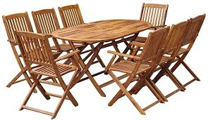 vidaXL Solid Acacia Wood <b>Outdoor</b> Dining Set <b>9 Piece Folding</b> ...