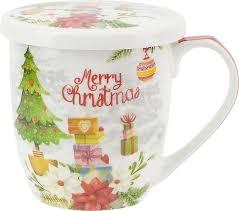 <b>Кружка</b> с крышкой Nouvelle <b>Marry Christmas</b>, N1040090, белый ...