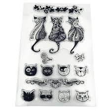 Cute <b>Cat Transparent Silicone</b> Stamp <b>Clear</b> Seal for DIY ...