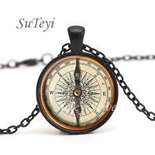 SUTEYI Hot Round Glass Cabochon Jewelry Steampunk Compass ...