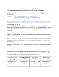 individual professional learning plan for teachers worksheet