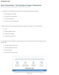 quiz worksheet the outsiders chapter questions com print the outsiders chapter 5 summary worksheet