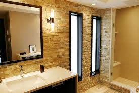 bathroom layout ideas rustic wooden vanity: luxurious and marvelous interior large bathroom layout ideas exotic modern brick accent wall
