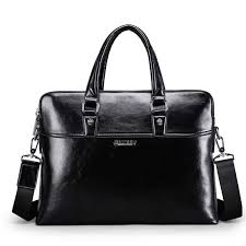 New Luxury <b>Cow Genuine Leather Business</b> Men's Briefcase Male ...