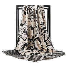 O CHUANG <b>Silk Scarf</b> Fashion Foulard <b>Satin Shawl Scarfs</b> Big Size ...