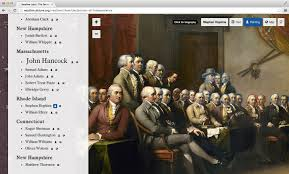 the digital declaration of independence david mcclure an interactive edition of trumbull s declaration of independence painting each of the faces outlined and linked the corresponding signature on