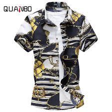 <b>QUANBO</b> Brand Clothing Plus size M 5XL 6XL Mens Floral Shirt ...