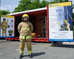 new firefighter recruitment pod lands at poynton fire station the new firefighter recruitment pod
