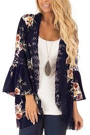 Women <b>Kimono</b> Cardigans <b>Boho</b> Hollow Out Lace Floral Print ...