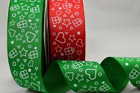 55052 - <b>Grosgrain</b> Printed <b>Star</b> & Presents <b>Ribbon</b>
