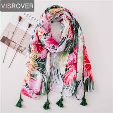 Online Shop <b>VISROVER</b> tropical print <b>scarf</b> with tassel fashion ...