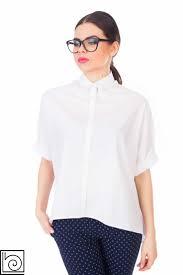 Стильная белая женская рубашка, широкая, короткий рукав ...