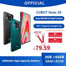 <b>Cubot Note 20</b> Rear Quad Camera Smartphone NFC 6.5 Inch ...