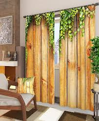 Купить <b>комплект фотоштор</b> «<b>Деревянная</b> стена» коричневый ...