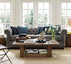 Navy Living Room Chair Gray Sofa With Blue Accent Pillows And Natural Fiber Rug Refresh