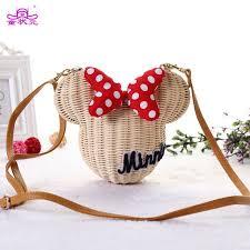 TZY New Style Minnie Mouse <b>Handmade Rattan Bag</b> Cartoon ...