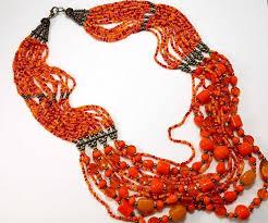 Orange <b>Seed Bead</b> Multi Strand <b>Necklace</b> 1970's Boho   Etsy   Seed ...