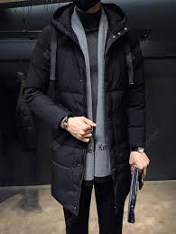 Men's <b>Winter</b> Solid Color Long Parka Thickening Hooded Down Coat