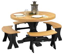 dining room decors full size tables chairs amish merchant  round table set with benches cedar black