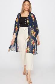 <b>Plus Size Floral Printed</b> Longline Kimono – Urban Planet