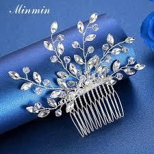 2019 <b>Minmin Sparkling</b> Silver Color <b>Marquise Crystal</b> Leaf Vine ...