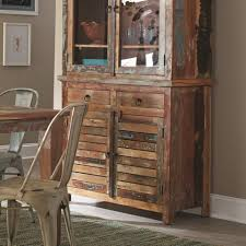 Keller Dining Room Furniture Coaster Keller Rustic China Cabinet With Louvered Doors Value