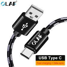 <b>OLAF</b> USB <b>Type C</b> 1M 2M 3M Sync <b>Nylon Type C</b> Fast Charging ...