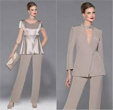 2Pcs Elegant <b>Gray Chiffon Mother of</b> the Bride Pants Suit Long ...