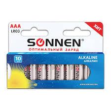 <b>Батарейки</b> КОМПЛЕКТ 10 шт, <b>SONNEN</b> Alkaline, <b>AAA</b> (LR03 ...