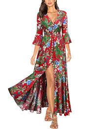 Miusol <b>Women's Flare</b> Floral 2/3 Sleeve <b>Summer</b> Party Long Dress ...