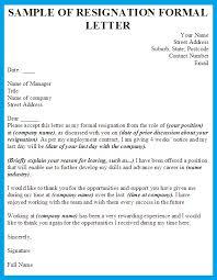 resignation letter formats  tomorrowworld cosample of resignation formal letter formal resignation letter sample template