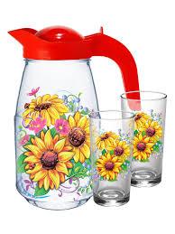 Набор для воды 3 предмета, <b>кувшин</b>, 2 стакана, <b>Подсолнух</b>, 1607 ...