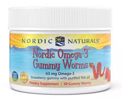 Nordic Naturals <b>Nordic Omega 3 Gummy Worms</b> Strawberry 30 Chew