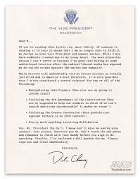 exclusive vice president dick cheney s resignation letter mad exclusive vice president dick cheney s resignation letter