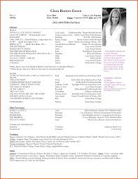 acting resume template resume format for actors audition resume format