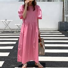 Корейское однотонное <b>свободное летнее платье</b>, однобортное ...