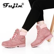 <b>Fujin</b> New Pink <b>Women</b> Boots Lace up Solid Casual <b>Ankle Boots</b> ...