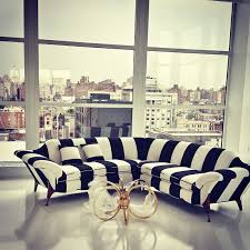 alice olivia showroom black and white striped furniture