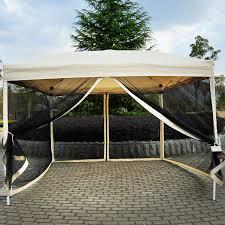 patio shades x outdoor gazebo canopy  x  pop up tent mesh screen patio shade tan