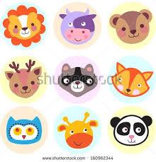 Set of cute cartoon animals: <b>lion</b>, cow, <b>bear</b>, <b>deer</b>, <b>raccoon</b>, <b>fox</b>, owl ...