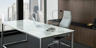 long silver polished steel based office desk with rectangle white marble countertop combined with gray leather adorable small black computer