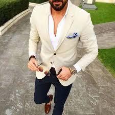 <b>Custom Made</b> Men Suit Beige Blazer <b>Navy Blue</b> Pants 2 Piece ...
