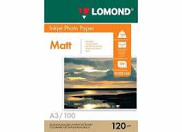Фотобумага <b>Lomond для струйной печати</b>, A3, 120 г/м2, 100 ...