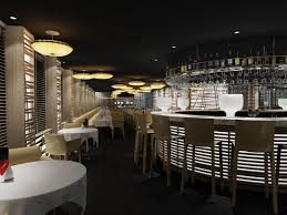 inspiring restaurant concept design ideas with round shape bars counter table and combine with cream color agreeable home bar design