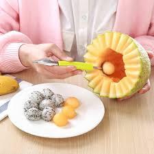 <b>Double stainless steel</b> melon baller kitchen cut watermelon carving ...