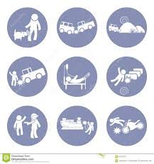 insurances type and accident icon set pictogram for presentation insurances type and accident icon set pictogram for presentation business concept background in