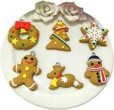 6 PCS Polymer Clay Pendant <b>Christmas</b> Tree <b>Decoration Cartoon</b> ...